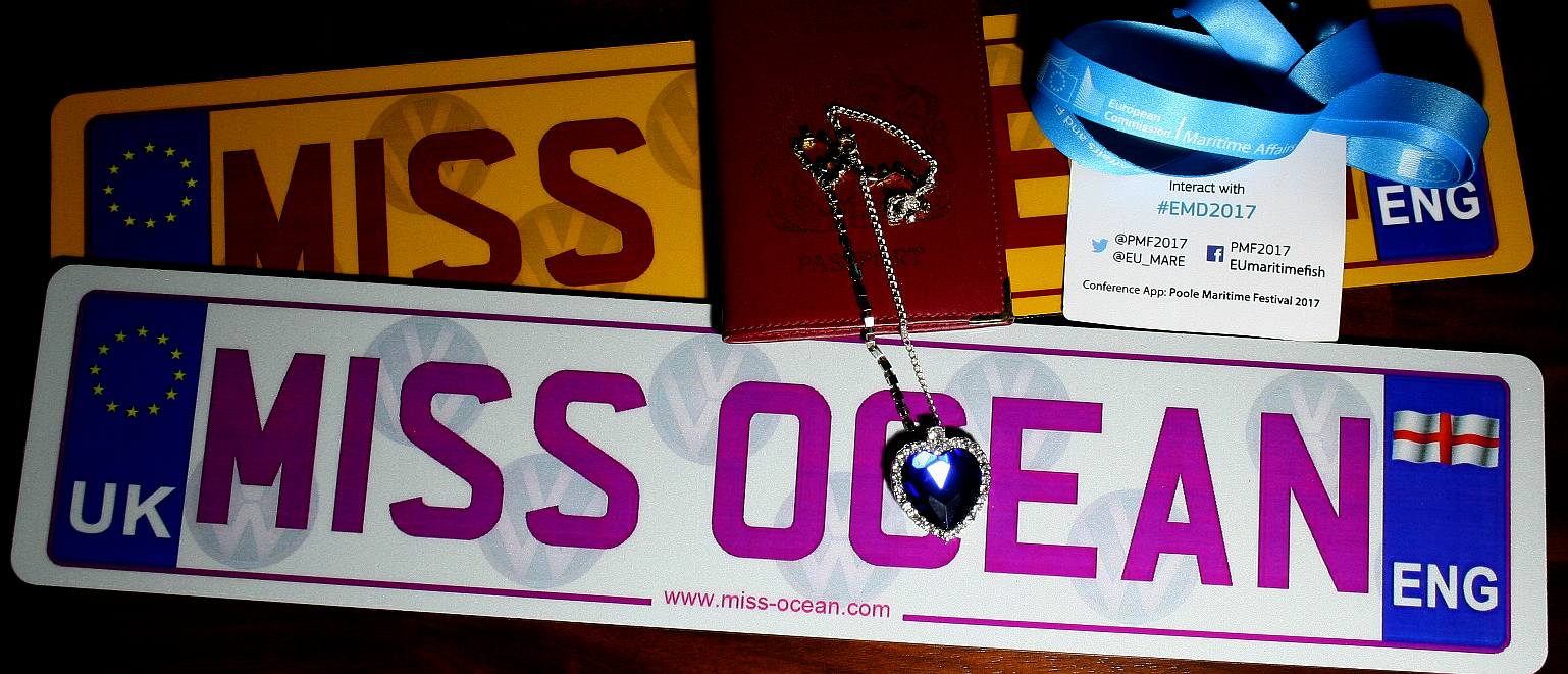 Passport and heart of the ocean necklace with Miss Ocean number plates